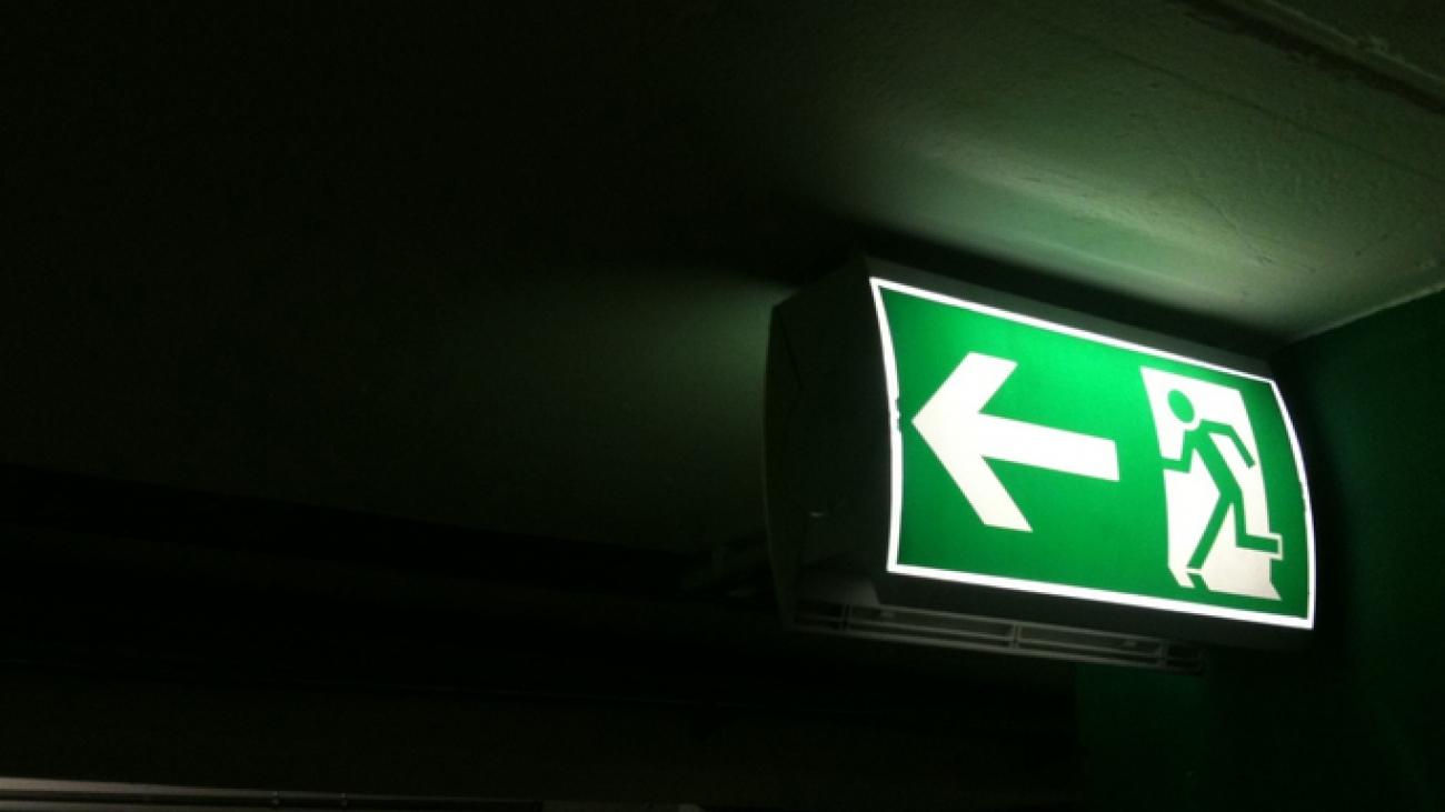Illuminated Exit Sign In Underground