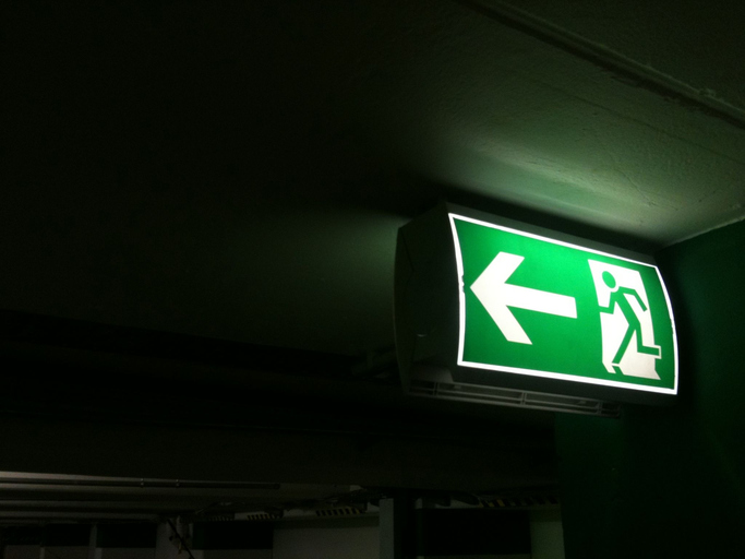 Illuminated Exit Sign In Underground